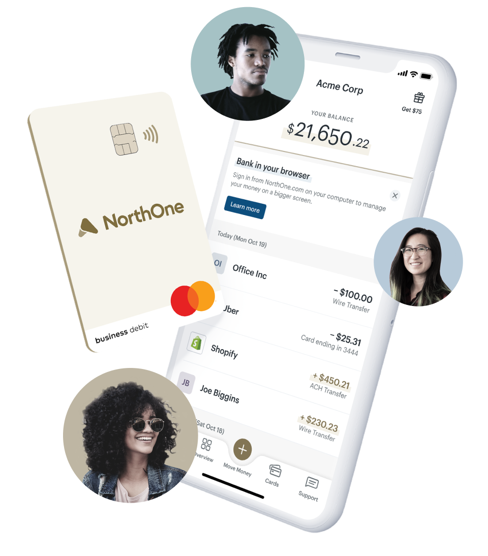 Two NorthOne cards and faces of customers