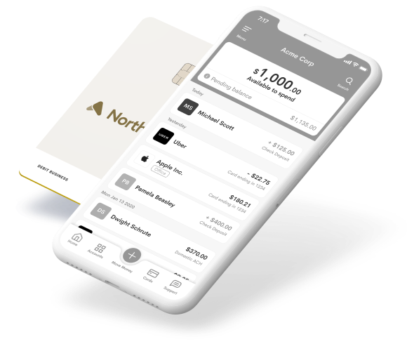 NorthOne MasterCard card with iPhone displaying move money options
