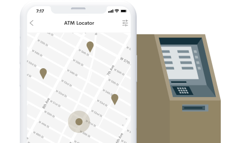 ATM locator on phone with ATM background