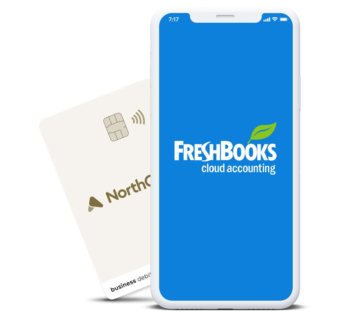 Freshbooks logo on a white smartphone